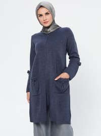 Indigo - Crew neck - Acrylic - Viscose - Wool Blend - Cardigan