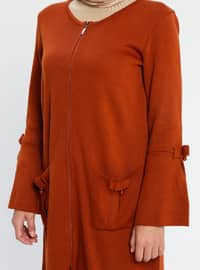Terra Cotta - Crew neck - Acrylic - Viscose - Wool Blend - Cardigan