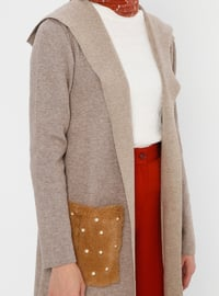 Beige - Crew neck - Acrylic - Viscose - Wool Blend - Knit Cardigans