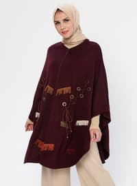 Plum - Unlined - Acrylic - Wool Blend - Poncho