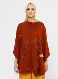 Tan - Unlined - Acrylic - Wool Blend - Poncho