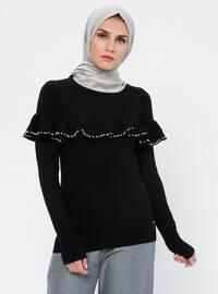 Black - Crew neck - Acrylic - Viscose - Wool Blend - Jumper