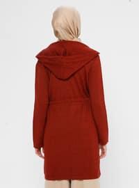 Orange - Acrylic - Viscose - Wool Blend - Cardigan