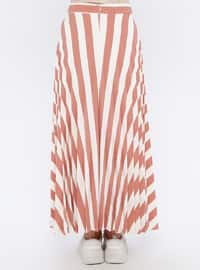 Terra Cotta - Stripe - Fully Lined - Skirt