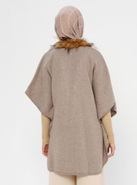 Beige - Unlined - Acrylic - Wool Blend - Poncho