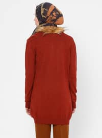 Tan - Crew neck - Acrylic - Viscose - Wool Blend - Cardigan