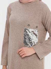 Beige - Crew neck - Acrylic - Viscose - Wool Blend - Tunic