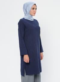 Indigo - Crew neck - Acrylic - Viscose - Wool Blend - Tunic
