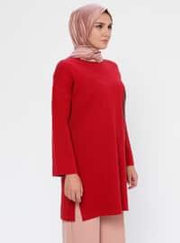 Red - Crew neck - Acrylic - Viscose - Wool Blend - Tunic