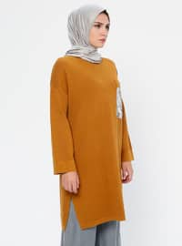Mustard - Crew neck - Acrylic - Viscose - Wool Blend - Tunic