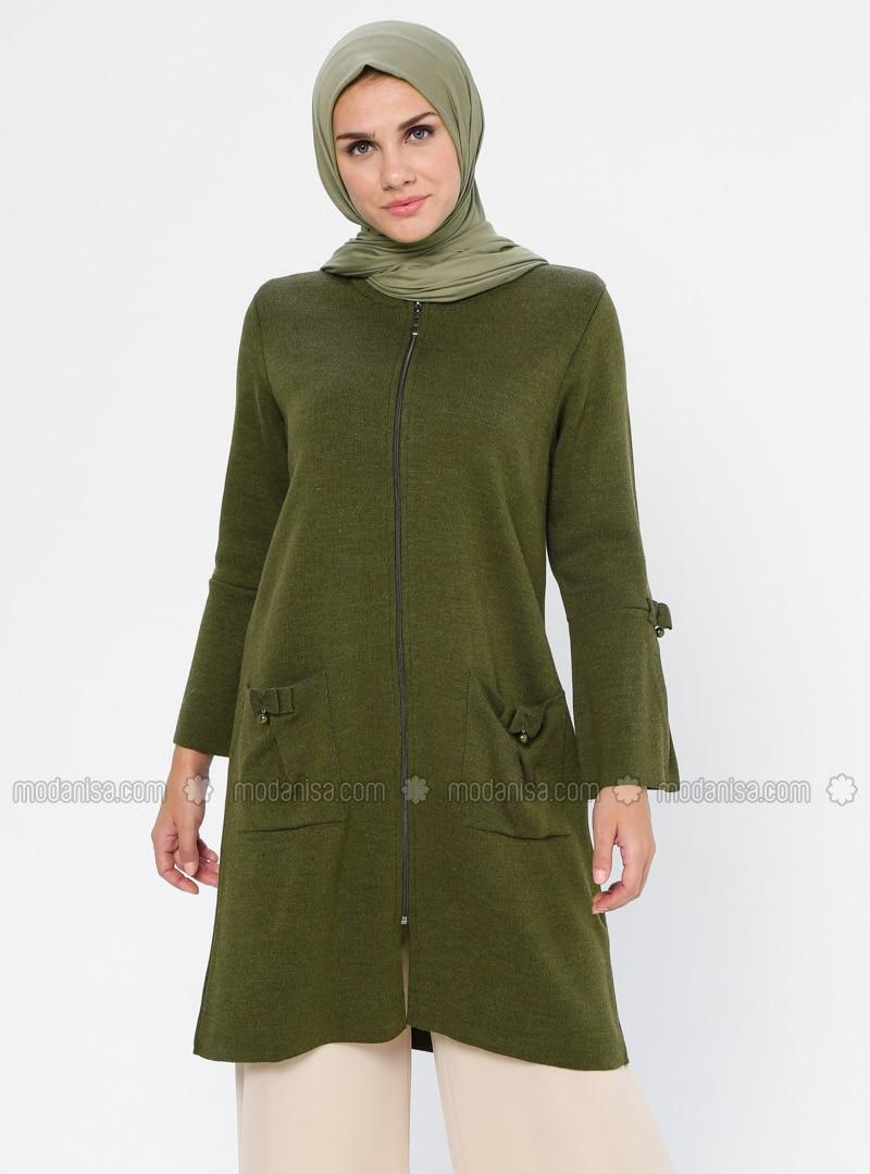 Khaki - Crew neck - Acrylic - Viscose - Wool Blend - Cardigan