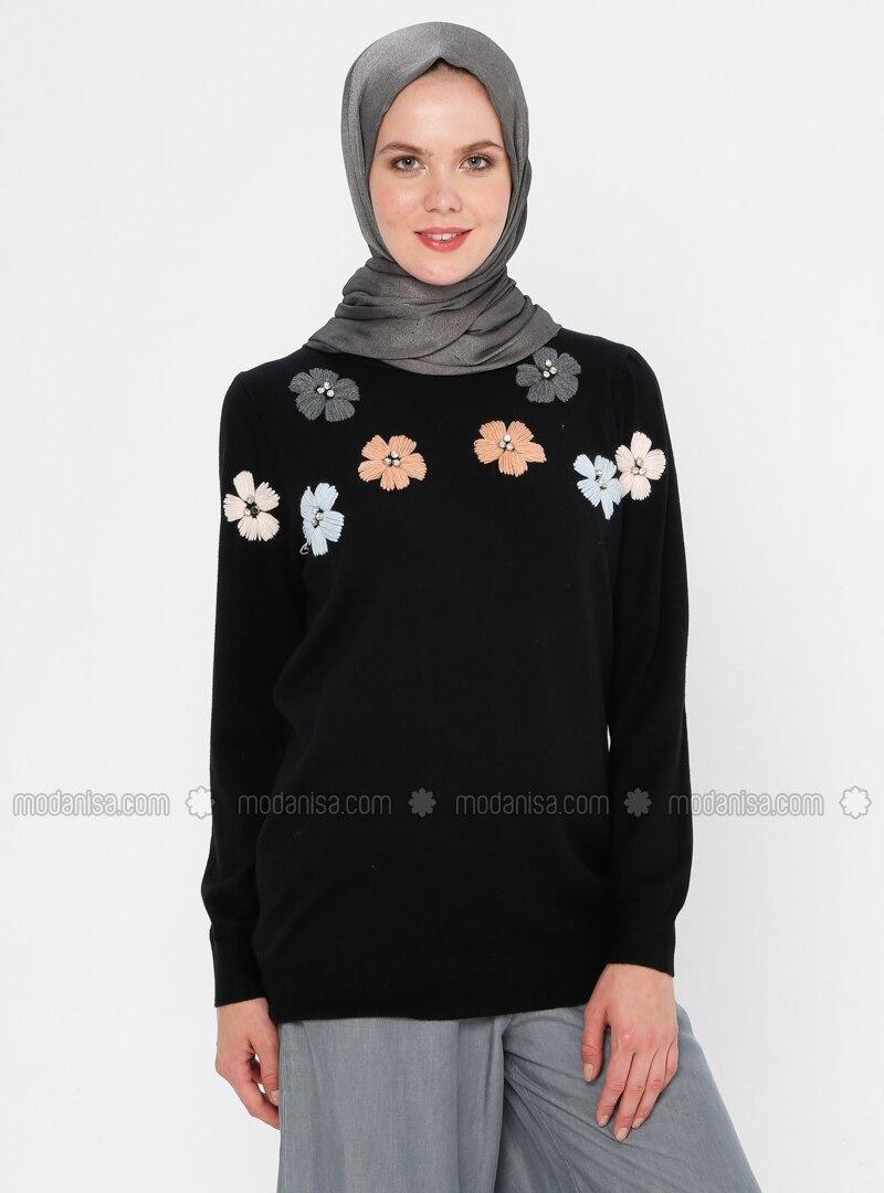 Black - Crew neck - Acrylic - Viscose - Wool Blend - Knit Sweaters