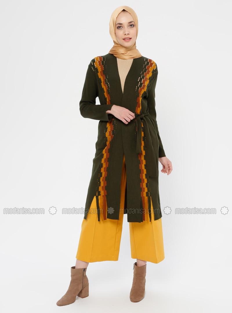 Khaki - Checkered - V neck Collar - Viscose - Cardigan