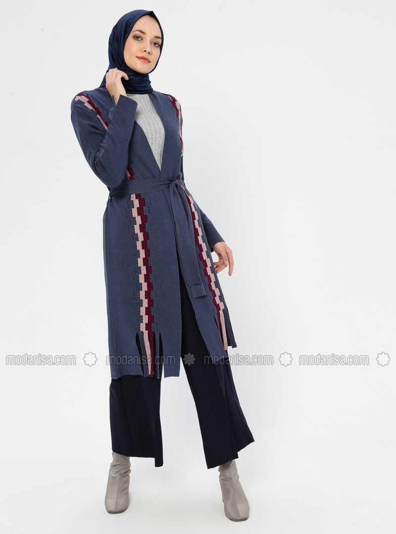Indigo - Checkered - V neck Collar - Viscose - Cardigan