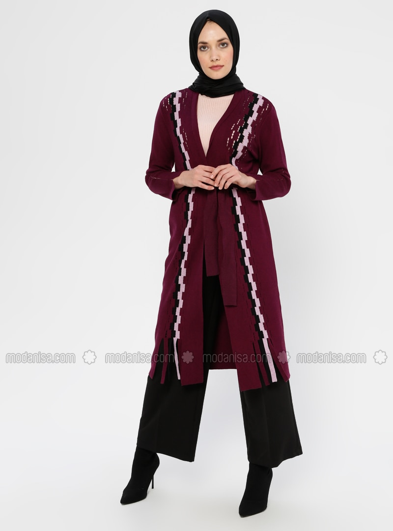 Plum - Checkered - V neck Collar - Viscose - Cardigan
