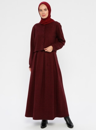 Maroon - Unlined - Viscose - Suit