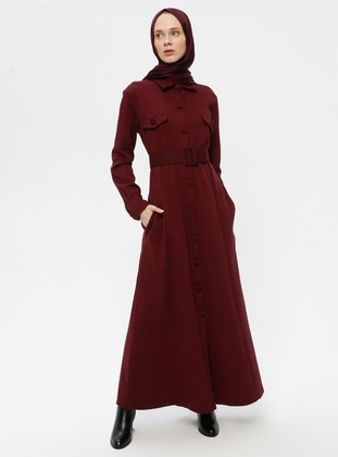 Maroon - Unlined - Point Collar -  - Abaya