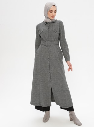 Gray - Unlined - Point Collar -  - Abaya