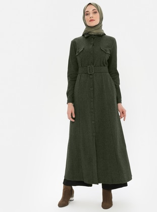 Khaki - Unlined - Point Collar -  - Abaya