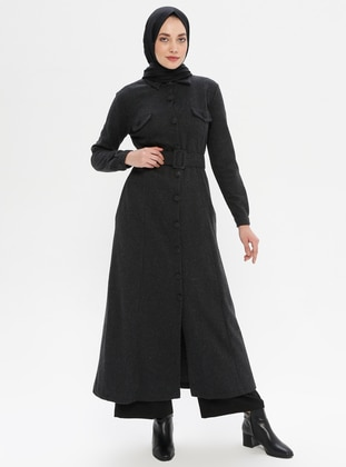 Black - Unlined - Point Collar - - Abaya