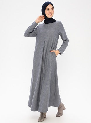 Blue - Crew neck - Unlined -  - Dress