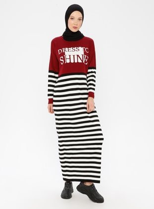 Maroon - Stripe - Crew neck - Unlined - Acrylic - Dress
