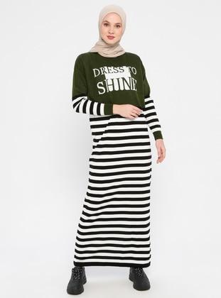 Khaki - Stripe - Crew neck - Unlined - Acrylic - Dress