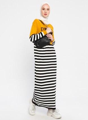 Mustard - Stripe - Crew neck - Unlined - Acrylic - Dress