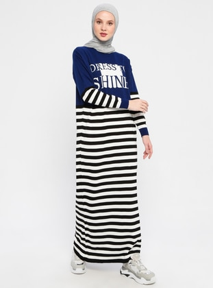 Navy Blue - Stripe - Crew neck - Unlined - Acrylic - Dress