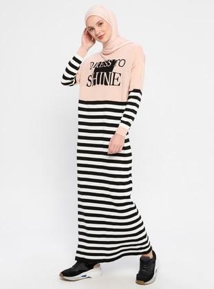 Powder - Stripe - Crew neck - Unlined - Acrylic - Dress