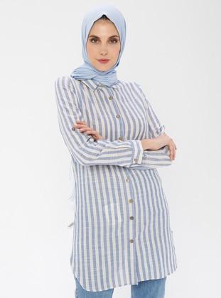 Saxe - Stripe - Point Collar -  - Tunic