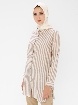 Brown - Stripe - Point Collar -  - Tunic