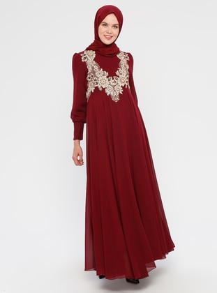 Maroon - Crew neck - Fully Lined -  - Dress