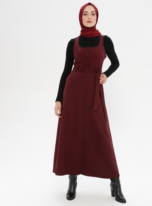Maroon - Sweatheart Neckline - Unlined -  - Dress