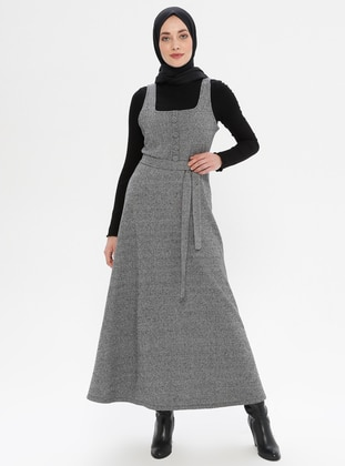 Gray - Sweatheart Neckline - Unlined -  - Dress
