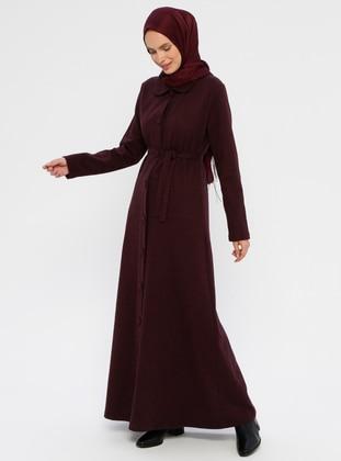 Maroon - Unlined - Round Collar - Abaya