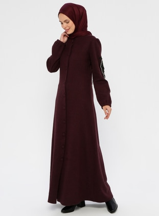 Maroon - Unlined - Round Collar - Abaya