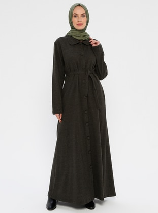Khaki - Unlined - Round Collar - Abaya