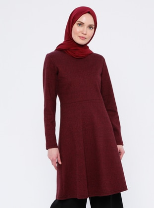 Maroon - Crew neck -  - Tunic