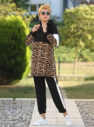 Black - Leopard - Unlined - Acrylic -  - Suit