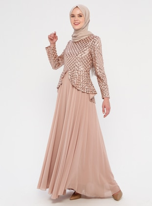 Gold - Crew neck - Fully Lined -  - Dress