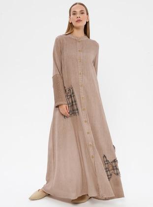 Brown - Button Collar - Cotton - Dress