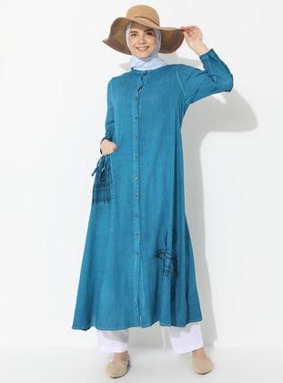 Turquoise - Button Collar - Cotton - Dress