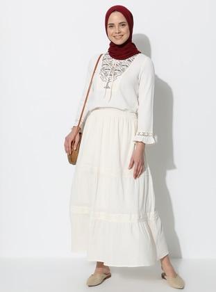 Cream - Fully Lined - Cotton - Skirt