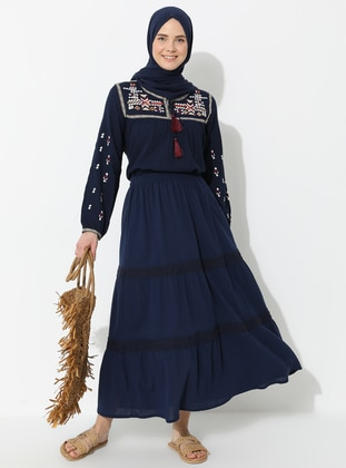 Navy Blue - Fully Lined - Cotton - Skirt