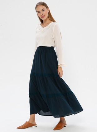 Petrol - Fully Lined - Cotton - Skirt