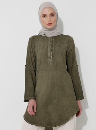 Khaki - Khaki - Crew neck - Cotton - Tunic