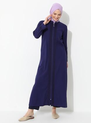 Purple - Purple - Unlined - Crew neck - Cotton - Abaya