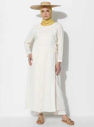 Cream - Unlined - Crew neck - Cotton - Abaya