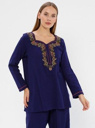 Purple - Sweatheart Neckline - V neck Collar -  - Blouses